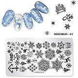 Maniküre Stempelschablonen, Maniküre Druckbild Vorlage Weihnachten DIY Nail art Stempel Platte Stamper(5PCS)