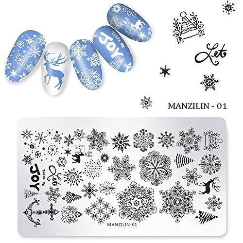 Maniküre Stempelschablonen, Maniküre Druckbild Vorlage Weihnachten DIY Nail art Stempel Platte Stamper(5PCS) -