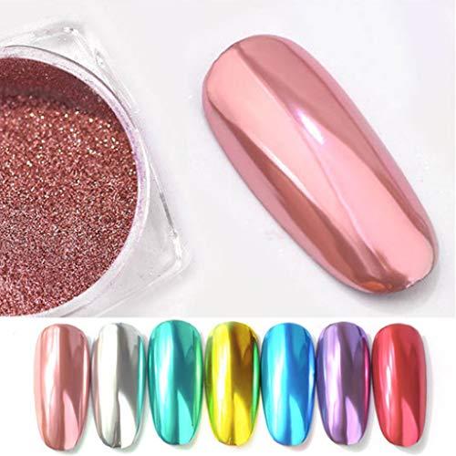 kushuang 7 Colore Chrome Shining Glitter Effetto Specchio Per Unghie In Polvere Magic Nail Art Pigmento Dust Manicure Decorazione