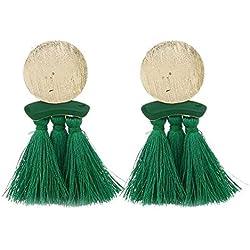 Covermason Boucles d'oreilles pompon géométrique irrégulière rond glands femmes Boucles d'oreilles pendantes en strass Boucles d'oreilles pompon (Vert#2)