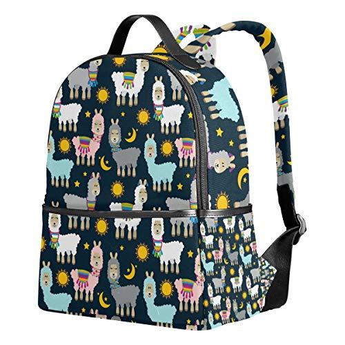 Ahomy Schulrucksäcke Bunte Llama und Kaktus Sonne Mond Sterne Rucksack Schultertaschen für Mädchen Jungen