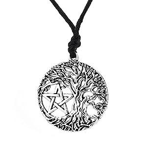 LemAmazon Baum des Lebens World Tree Anhänger Halskette Yggdrasil Pentakel Talisman Punk Seil Halskette