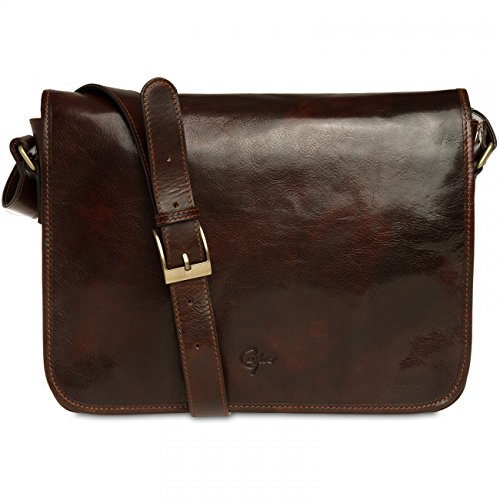 CASPAR - TL710 Sac à main en cuir vintage - Sac messager marron foncé