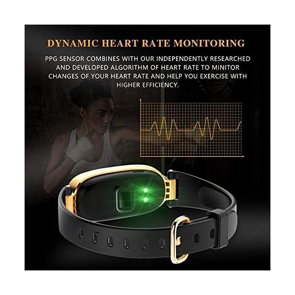 Rayfit Pulsera Actividad Reloj Inteligente Mujer Monitor de Ritmo Cardíaco Fitness Tracker Contador de Calorías Pasos Monitor de Sueño Podómetro Ejercicios Salud Pulsera Deportiva Pulsómetros 3