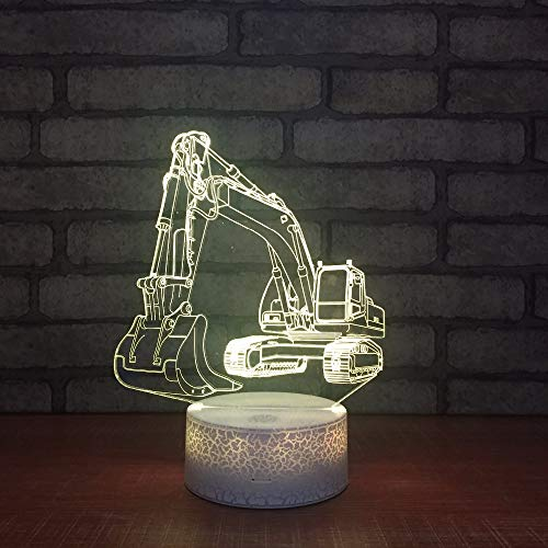 ZNNBNG 3D Lampe Bagger 3D Nachtlicht 7 Farbwechsel Stimmung Tischlampe Schlafzimmer Beleuchtung Wohnkultur (Panel Lampe Licht Emittierende)
