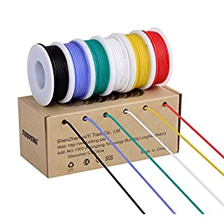 TUOFENG 18AWG Electrical Wire, Hook up Wire Kit 18 Gauge Flexible Silicone Wire(6 Different Colored 4 Meter spools) 600V Stranded Wire High Temperature Resistance