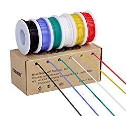 TUOFENG 18AWG Electrical Wire, Hook up Wire Kit 0.82mm² Flexible Silicone Wire(6 Different Colored 4 Meter spools) 600V Stranded Wire High Temperature Resistance