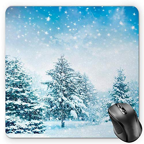 Winter Mouse Pad, Snow Covered Fir Trees on Mountainside Blizzard Arctic Woodland Tranquil OutdooorsBlue White
