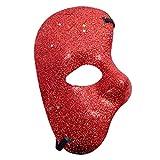 KIRALOVE Maschera metà Volto - Fantasma dell'opera - Colorata con Glitter - Costume - Travestimento - Carnevale - Halloween - Cosplay - Colore Rosso