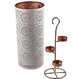 Teelichthalter für 3 Teelichter ORIENTAL Kerzenhalter Windlicht Kerzenständer schwarz weiß , Farbe:Weiß