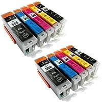 Logic-Seek® LS-PGI550XL LS-CLI551XL - Set di 10 cartucce per stampante con chip e indicatore di livello inchiostro per Canon Pixma iP7250, MG5450, MG6350, MX725, MX925, compatibile con PGI550BK, CLI551C, CLI551M, CLI551Y e CLI551BK