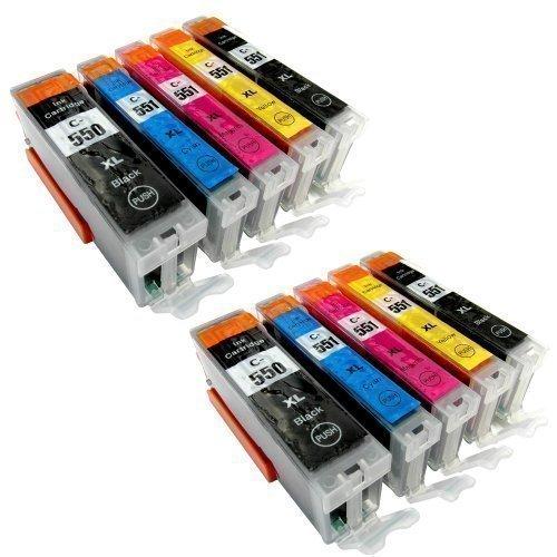 10 Druckerpatronen PGI-550XL CLI-551XL für Canon Pixma iP7250 MG5550 MG5650 MG 5655 MG6450 MG5450 MG6350 MX725 MX925 kompatibel zu PGI550BK , CLI551C , CLI551M, CLI551Y und CLI551BK MIT CHIP und Füllstandanzeige der Marke Youprint®
