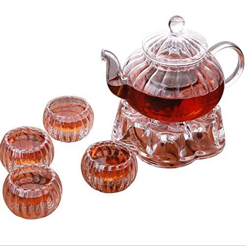 ZJFSL Glas-Teekanne Hitzebeständiges Borosilikat-Kung-Fu-Teeset Klarglas-Teekanne mit Blumenstreifen