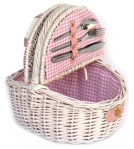 Panier de pique-nique pour enfant Rose avec anse en osier