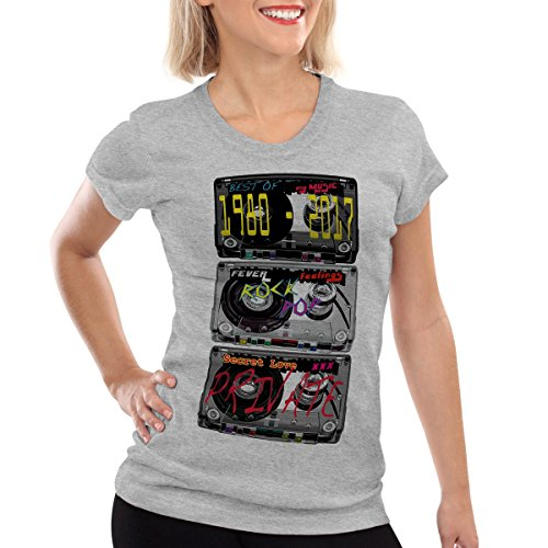 style3 Disco Tape Camiseta para Mujer T-Shirt, Color:Gris Brezo;Talla:2XL