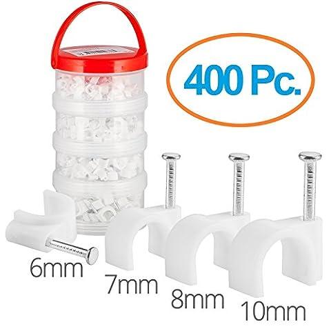 MutecPower Kabelschelle Pack 6mm 7mm 8mm 10mm rund Nagelschelle Weiß - 400 Stück