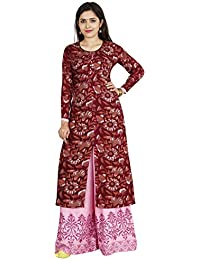 INDIJOY Women's Cotton Front Slit Printed Kurti With Printed Palazzo