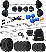 Kore PVC 20-50 Kg Home Gym Set with One Plain + One Curl and One Pair Dumbbell Rods with Gym Accessories and P