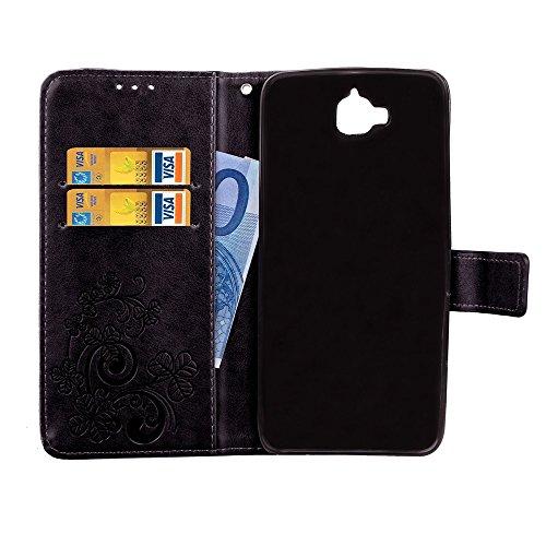 EKINHUI Case Cover Double Magnetic Back Sucktion Retro Style PU Leder Flip Stand Case mit Kickstand und Wallet Beutel Funktion für Huawei Y6 Pro ( Color : Rose ) Black