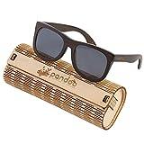 pandoo Bambus-Sonnenbrille mit Brillen-Etui, Schraubenzieher und Tasche - polarisiert & UV400 - Schwarze Gläser & dunkler Bambus Rahmen - Holz / Damen / Herren / Unisex / Sport / UV-Schutz / polarized