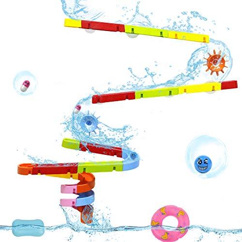 Baby Kugelbahn Wasserspielzeug Badespaß Konstruktionsspielzeug mit Wasserrad und Bälle Rennbahn Geschenk Baby Spielzeug für Kinder Junge Mädchenfür ab 3 4 5 Jahren (MEHRWEG) ()