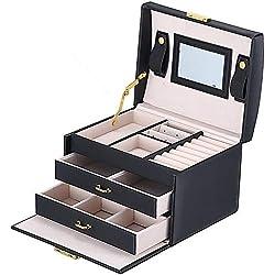 Boîte à bijoux Mallette coffrets boîte à maquillage, bijoux et cosmétique beauty Case avec 2 Tiroirs 3 Couches (Noir)