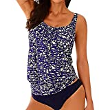 SAFASHION Femme Maillot de bain Push Up Rembourse 2 pieces Amincissant Bikini Shorty Boho Tankini Sport Jupette (S, Bleu1)
