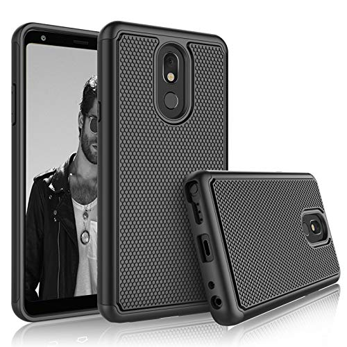 Tekcoo Schutzhülle für LG Stylo 5, 2019 LG Stylus 5, Hybrid-Hülle, robust, stoßdämpfend, Gummi, Silikon und Kunststoff, Kratzfest, stoßfest, robust, niedlich, robust, T-Black Att Samsung Jack