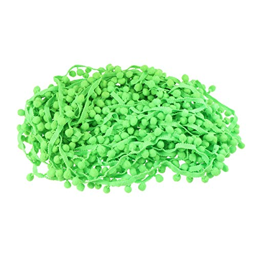 Healifty Pomponborte Pomponband Bommelborte Pom Pom Trim Ball Fringe Pompons Band für Nähen Basteln Kleidung 9.1 M (Grün) -