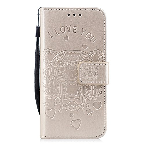 Alfort Custodia iPhone 6S, Cover iPhone 6S/PU Portafoglio Libro Stand Flip Slot Custodia Case con Vani di Carte Funzione Stand Supporto Chiusura Magnetica Custodia iPhone 6S (4.7'') - Tigre (Oro)