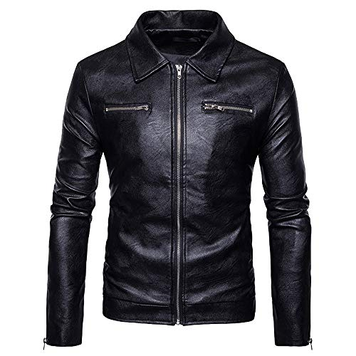 Daylin Clearance Newest Personality Men Autumn Muscle Winter Daily Solid Popular Leather Jacket Biker Motorcycle Zipper Outwear Coat Top Blouse (XL, Black2)