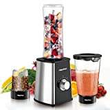 Papake Mini Blender Smoothie Maker, Juicer,200ml Personal Blender with Travel Lid -Portable Sports Bottle(Silver)