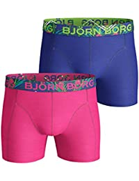 Bjorn Borg 2-Pack Floral Waistband Print Men's Boxer Trunks, Blue/Purple