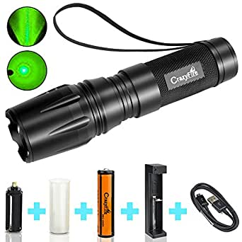 CrazyFire Green Beam Torch 1000 Lumen LED Zoom Adjustable Flashlight Portable 5 Mode Lantern (Battery and Charger Include)