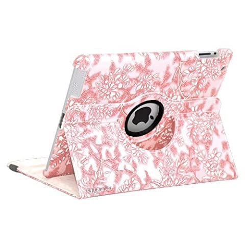 Light Pink Apple iPad 2-3-4 Luxury Floral Petal Smart PU Leather Case Rotating 360 Funky Cover Travel Stand with Auto Sleep-Wake | Includes Free Screen Protector & New Stylus Pen | Professional Cases and Covers with Accessories for iPad 2-3-4 by