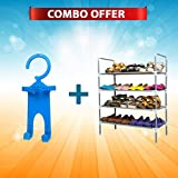 #8: Everything Imported 4 Layer Metal Shoe Rack (Silver)