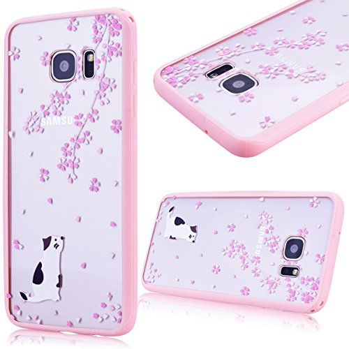 GrandEver Cover case per Samsung Galaxy S7 Edge, Gel Silicone Custodia TPU Soft Morbida Bumper Cover e Transparente PC Hard Duro Back Shell Protettiva Caso, Candy Case con Bella Pattern Design per Ragazze e Donne - Rosa Fiore e Gatto