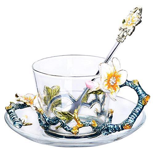 Mayanyan Kreative Emaille Farbe Kaffeetasse Tasse Latte 中文版 chinesische Tee-Set mit Teller...