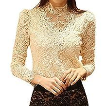 Minetom Mujer Elegante Blusa Cordón Blusa Tops Con Diamante De Imitación Camisas OL 2 Colores