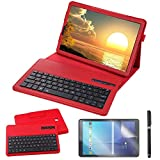 REAL-EAGLE Custodia Galaxy Tab S4 10.5 2018 Bluetooth Tastiera, Pelle PU Custodia con Wireless Staccabile Keyboard per Samsung Galaxy Tab S4 10.5 SM-T830/T835/T837 (Galaxy Tab S4 10.5, Red)