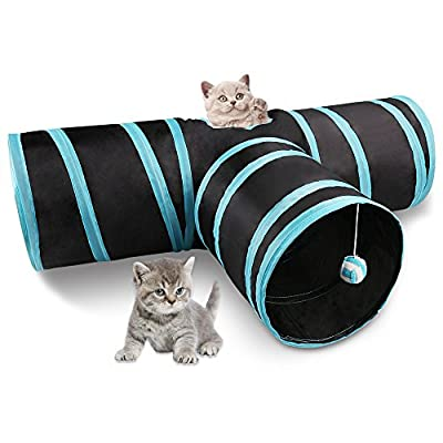 Miaosun Cat Tunnel, 3 Way Collapsible Pet Cat Play Tunnel with Ringing Ball, Spacious Tube Fun for Cat Puppy Kitten