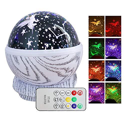 Volwco Proyector de luz Nocturna Musical con Estrellas, rotación de 360°, lámpara de Estrella para guardería con Mando a Distancia, 8 melodías para bebés, niños, Adultos, recámara, cumpleaños