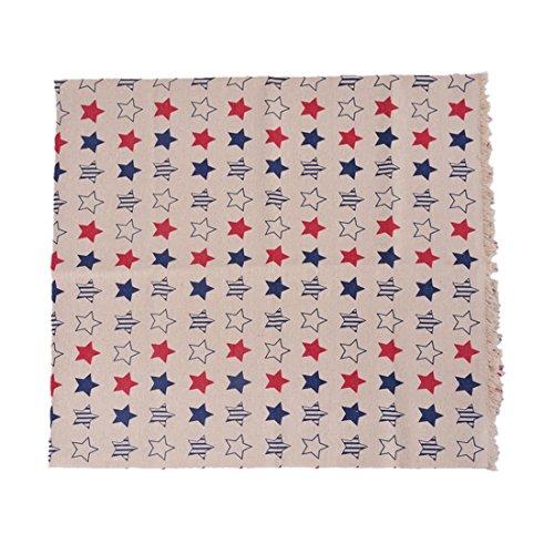Souarts Textile Tissu Coton Lin pr Diy Patchwork Couture Motif Etoile 97cmx50cm