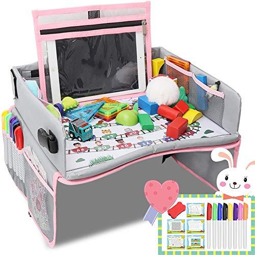 OUNUO Kinder Reisetisch + 8,5 Zoll LCD Schreibtafel Multifunktion Knietablett Reisetisch Faltbar Auto Kindersitz Spieltisch 5 Zeichenpapier und 6 Farbstifte (Rosa-Gray) -