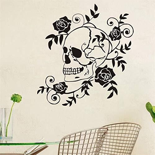yiyiyaya Gefährliche Schädel Kreative Wandaufkleber Blume Wandtattoos Rosen Aufkleber Wohnzimmer Schlafzimmer Wand 48 * 45 cm