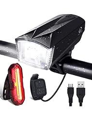 OMERIL Luci LED per Bicicletta Ricaricabili USB con Comando Remoto e Clacson, Super Luminoso Luce Bici Anteriore e Posteriore per Bici Strada e Montagna, Nero