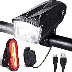 Eclairage Vélo Avant 6 Modes + Arrière 5 Modes, OMERIL IP65 Etanche Lampe Velo LED Puissante Rechargeable avec Sonnette 120dB, Lumière Peut contrôler à Distance pour Cyclysme VTT, VTC, Bicyclette etc