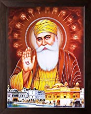 Art n Store: Guru Nanak Dev ji and Golden Temple Wall Painting/Poster Painting/Decor Painting with Plane Brown