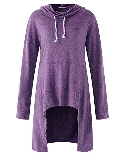 Kidsform Sweat à Capuche Femme Hoodie Casual Pull Sweater Longue Pullover Jumper Large Top Violet