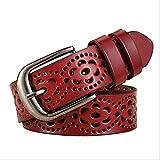 YAD cintura Moda Donna Senza Perforazione Cinture Di Lusso Cinturini Femminili Di Alta Qualità 105 Cm Rosso